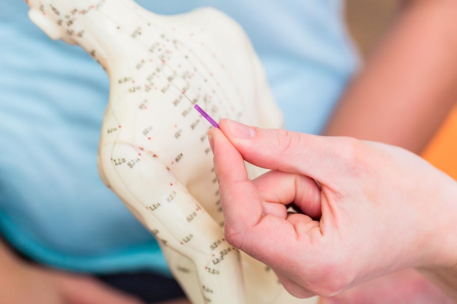 tcm practitioner potining out body meridian points